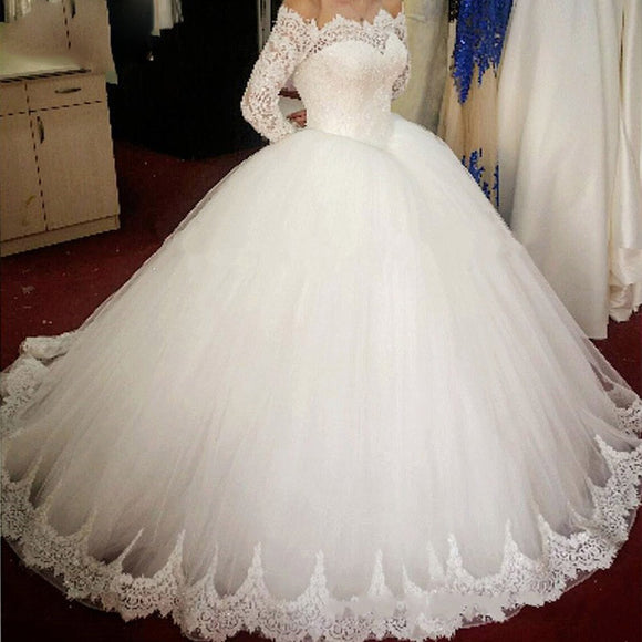 Romantic WD0826 off the shoulder long sleeves Princess Bridal Gown 2020  Poofy Tulle Ball Gown Lace Wedding Dress for Bride
