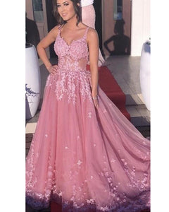 Dust Rose Tulle  Appliuqued Lace Gown Long 2020 Evening Formal Dress with Straps LP1202