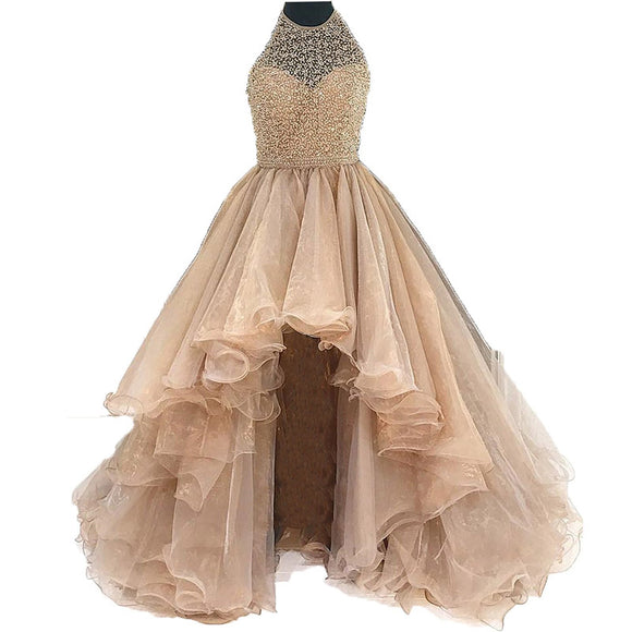 Siaoryne LP170819 O Neck High Beading Ball Gown Evening Dress High Low Front Short Long Back Prom Gowns Mint Champgne