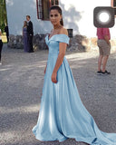 Siaoryne Off Shoulder Light Blue A Line Satin Girls Formal Prom Dresses Long Vestido De Festa Longo 2020