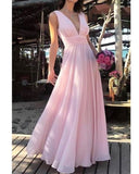 Siaoryne Pastel pink V Neck Flowing Chiffon Long Evening Gowns Women Formal Outfit PL20165
