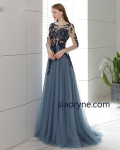 Vintage Blue Open Back Long Evening Dress, Lace Mother of the Bride Gown Full Sleeves Robe De Soiree MD002