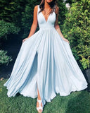Fancy PL4421 Blue V Neck Slit Long Prom  Dresses Evening Party Gowns