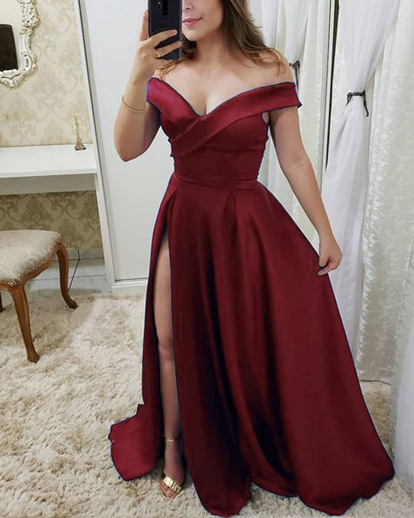 Off the Shoulder Prom Dresses Long for Girls PL2101