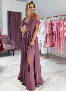Mauve Taupe Long Formal Girls Prom Party Dresses Straps 2020 with Sexy Slit PD6541