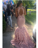 Fashion Pink Flower Rose Sexy Mermaid Girls 2020 Prom Dresses Long ball Dress PL3001