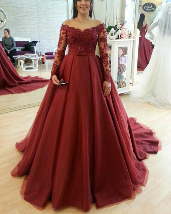 burgundy/royal blue/pink Long Sleeves Lace and tulle wedding dresses ball gown with train PL0211