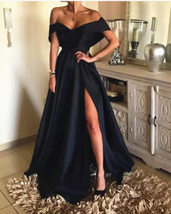 Elegant Off The Shoulder Black Satin Evening Dresses Long Women outfit 2019with Split PL5478