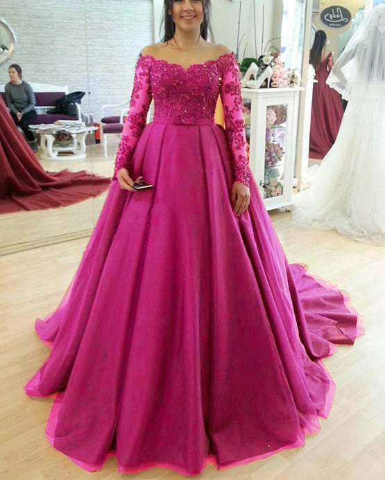 Pink Wedding Gown: Burgundy/royal Blue/pink Long Sleeves Lace And Tulle