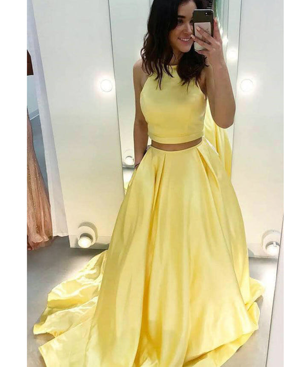 Crop Top Yellow Prom Dresses Senior Long Graduation Gown PL1021