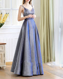 Elegant A Line Glitter Blue Evening Long Dresses 2019 with Straps PL5487