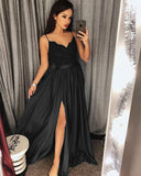 Teal Green /Black/Burgundy Sexy Lace Appliqued Long spaghetti 2019 Prom Dress Women Party Dresses PL4416