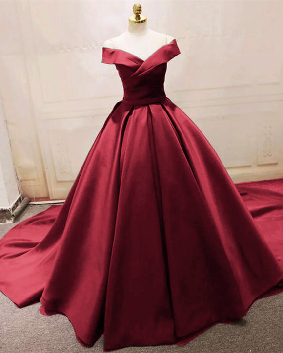 Siaoryne Satin Ball Gown Elegant Evening Formal Gown Burgundy Wedding Dresses with off Shoulder PL5885