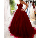 2020 Black Tulle Backless Prom Dress Ball Gown Girls Evening Long Formal Ball Dress
