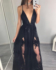 Black Lace Prom dresses  Spaghetti Straps Party Long gown with Slits PL2105