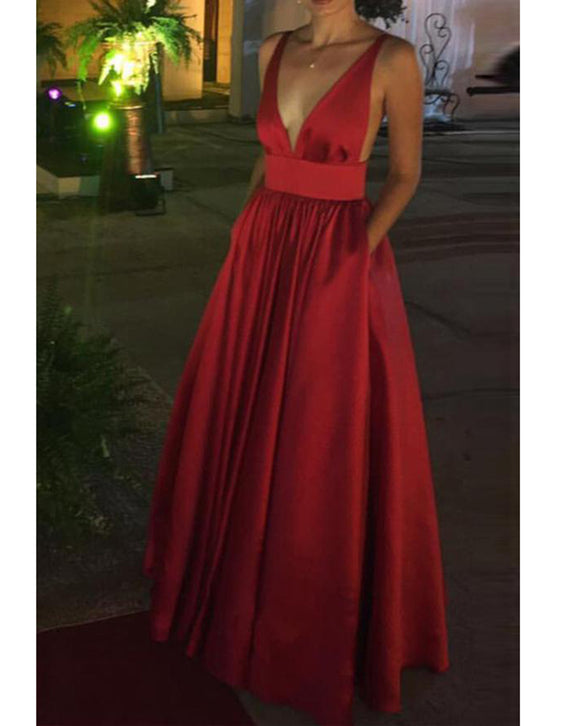 Red V Neck A Line Satin Long Evening Dresses with Pocket PL3302