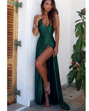 Halter Sexy Backless Teal Long Evening Party Gown with high Slits PL3354
