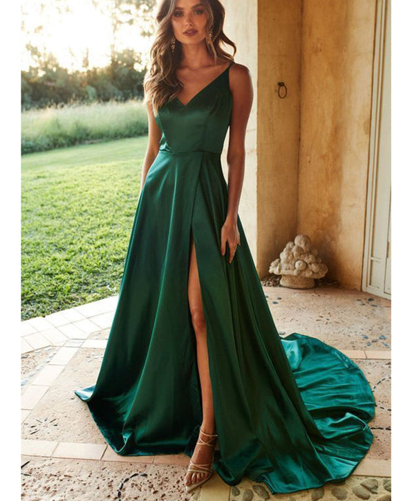 2020Green Long Prom Dresses with Straps High Split Party Gown PL22580