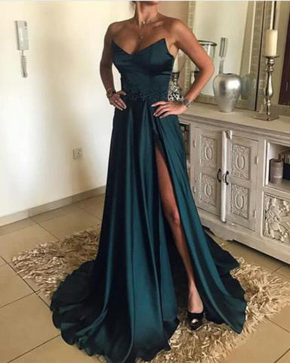 Siaoryne PL1254 Satin Strapless Burgundy/Teal  Long Gala Evening Dress for women 2020