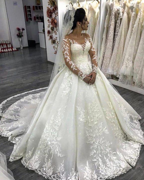 Luxury Long Sleeves Lace Princess Ball Gown Wedding Gown Vestido De Novais WD6654