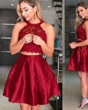 Crop Top 2 Pieces Wine Red Short Prom Dress for 8th Grade Dance 2019 SP6621