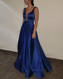 Purple  Prom dress with Deep V Neck A Line Satin Formal Gown Long PL3650