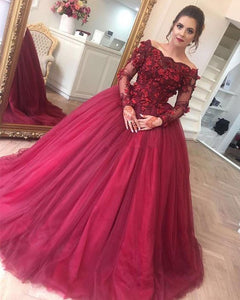 Long Sleeves Burgundy Red Ball Gown Quinceanera Dresses Party Gown