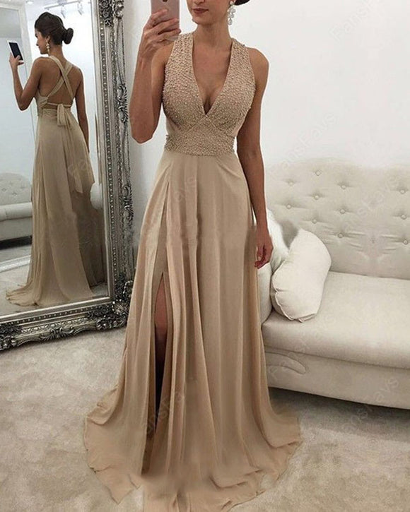 Champagne Halter Beading Long Evening Dresses Party Gown with slit PL8850