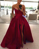 Royal Blue Strapless Prom Dresses Long Women Party Gown PL245
