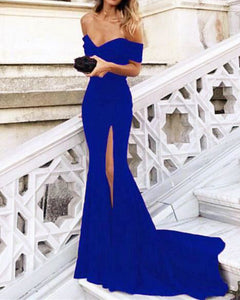 Royal Blue Mermaid Long Prom Party Dresses with slit for Women 2019 PL478