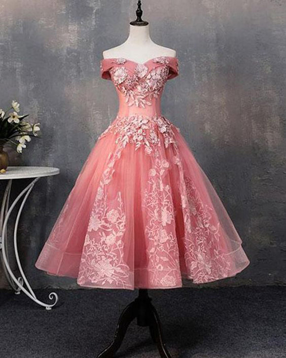 Off the Shoulder Lace Pink Short Prom Ball Gown Wedding Party Dress Dresses SP1171