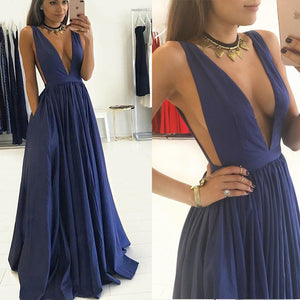 Navy Blue Plunge Sexy V Neck Dresses 2018 Prom Long Girls Evening Party Gown Vestido De Festa