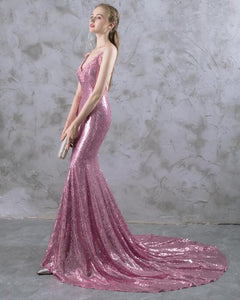 Siaoryne Mermaid Spaghetti Straps Sequins Evening Dress Long