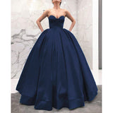 Navy Queen Ball Gown Wedding Dress for Reception Corset Sweetheart Prom Evening Dress