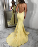 Fancy Scoop Backless Fitted Long Prom Dresses Yellow Party Gown with Sexy Slit PL321