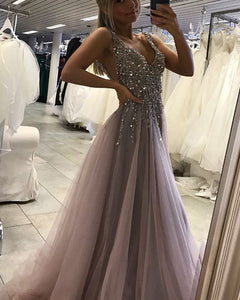 Dusk Purple Gray V Neck Sequins Beading Prom Dresses Long with Straps