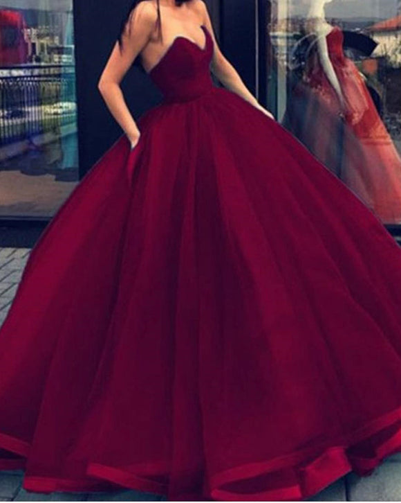 Burgundy Wine Red Princess Ball Gown Debutante Prom Dresses Strapless PL228