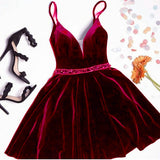Siaoryne Velvet Prom Short Cocktail Dress with Spaghetti Straps Beading Belt SP154