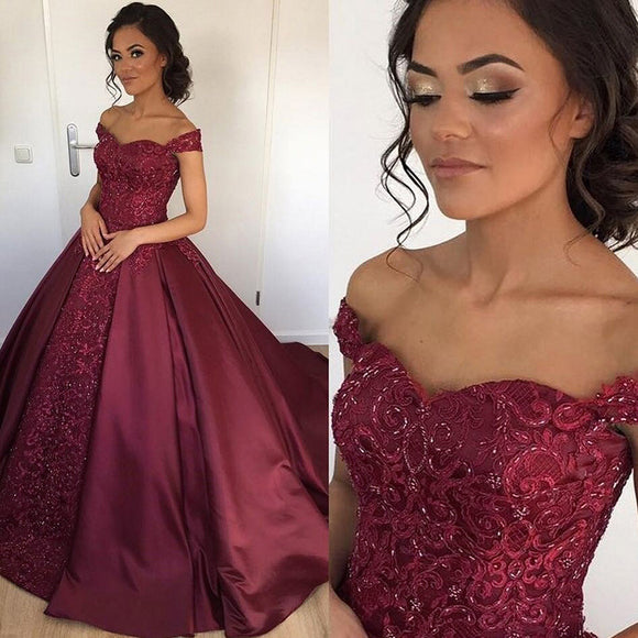Princess Off Shoulder Ball Gown Burgundy Wedding Dresses with Lace and Beading WD2014
