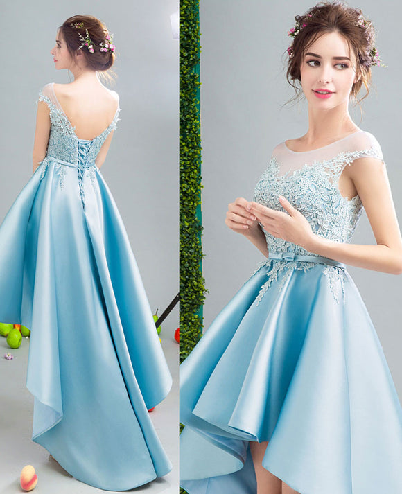 2020 Lovely Custom made high low dresses blue Girls Lace Prom Party Gown