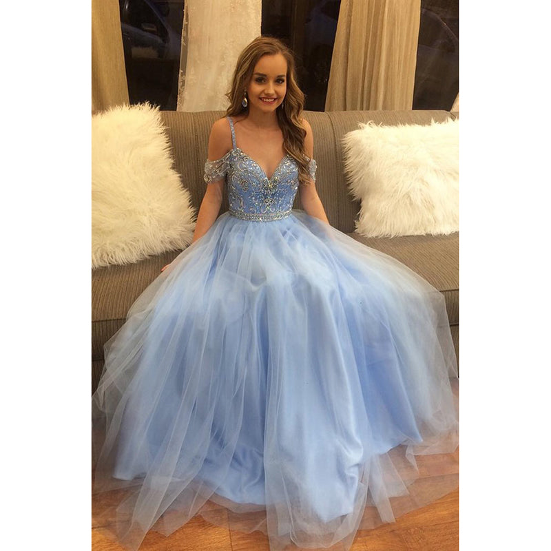 Dreamy Off The Shoulder Blue Prom Dress Beaded Ball Gown