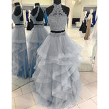 Halter Blue Crop Top Senior Prom dresses Long Tiered Two Pieces Girls Formal Graduation outfit 2020