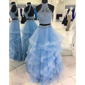 Halter Blue Crop Top Senior Prom dresses Long Tiered Two Pieces Girls Formal Graduation outfit 2018
