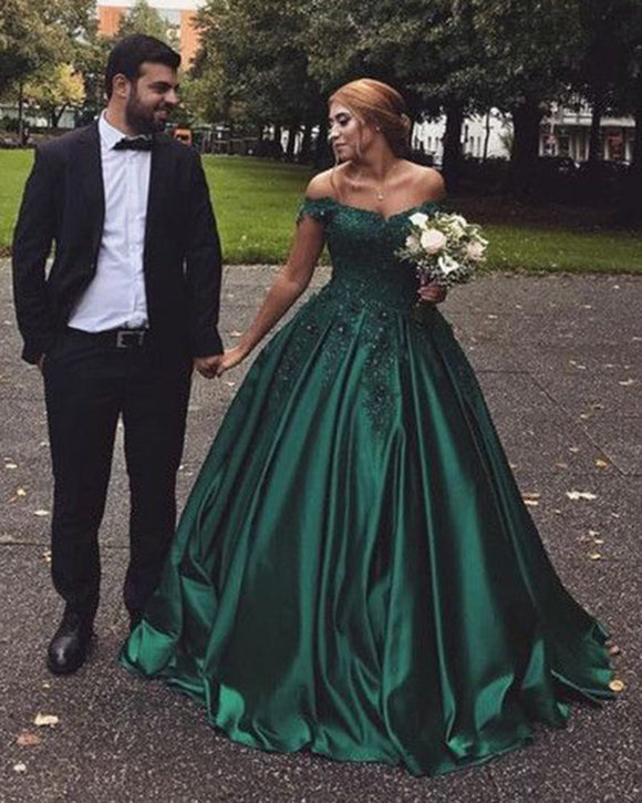 Hunter Green Ball Gown Wedding Dresses Lace WD564