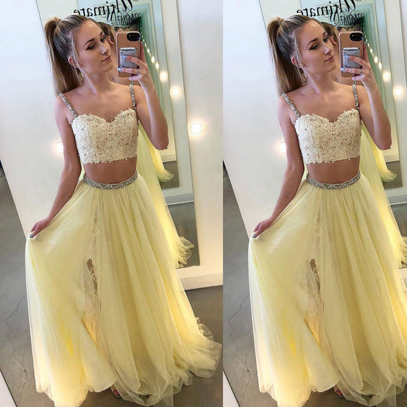 Yellow Spaghetti Straps Two Pieces Prom Dresses Long Full Beading LP0565