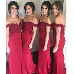 Off the Shoulder Burgundy Red Mermaid Long Bridesmaid Dress Women Lace Evening Party Dress