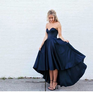 Sweetheart Navy Blue Front Short Long Back Satin Prom
