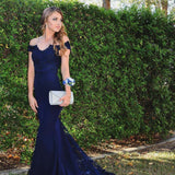 Elegant Off the Shoulder Navy Blue Evening Long Dress Lace Appliqued Bridesmaid dresses LP0543