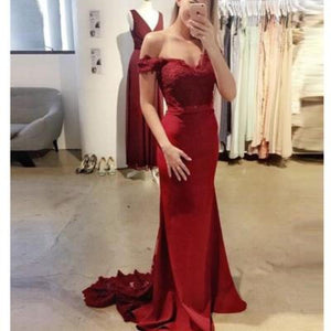 Elegant Off the Shoulder Burgundy Lace Mermaid Evening Dress Long women Bridesmaid gown with Train