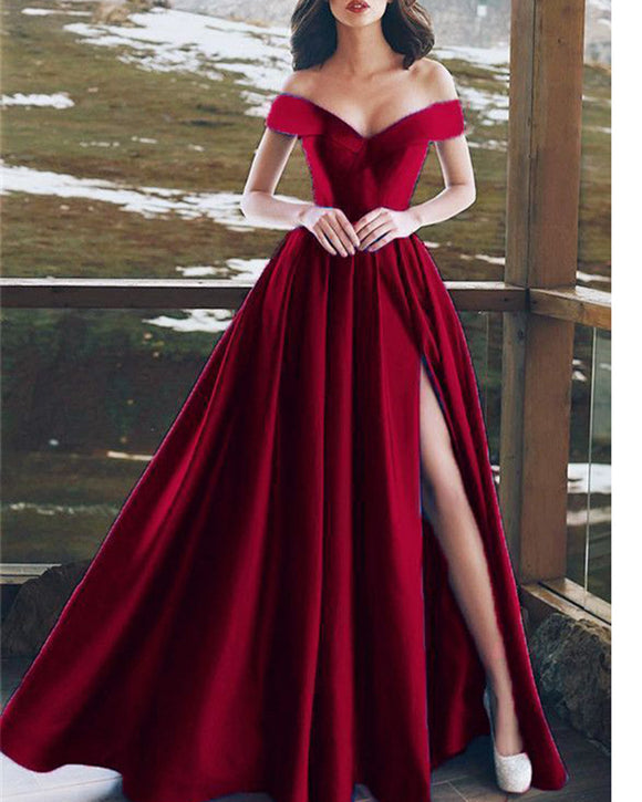 Burgundy Long Split Evening Gowns 2020 Off the Shoulder Formal Party Gowns PI654